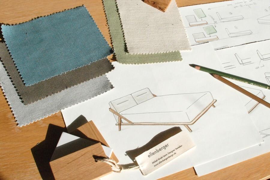 Skizzen vom Nordic Space Bett im Studio von Designer Jannis Ellenberger
